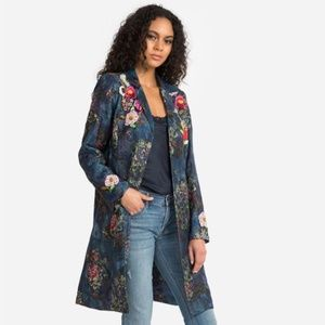 Johnny Was Marcelle Coat Wool Blend Floral Beaded